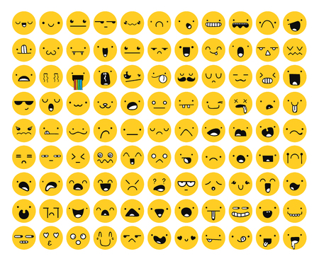 Great set 99 yellow emotion isolated on white. Emoji set. Anger and compassion. Laughter and tears. Smile and sadness. Sadness and surprise. Happiness and fear. Emotions for Web development.