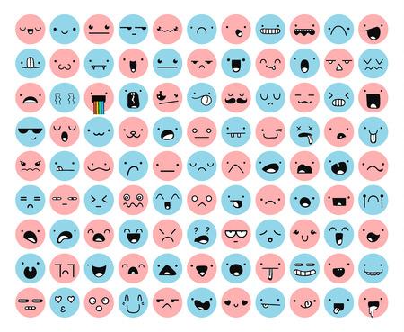 enojo: Gran conjunto 99 de color rosa, la emoción azul aislado en blanco. emoji conjunto. La ira y la compasión. Risas y lágrimas. La sonrisa y la tristeza. La tristeza y la sorpresa. La felicidad y el miedo. Emociones para el desarrollo Web.