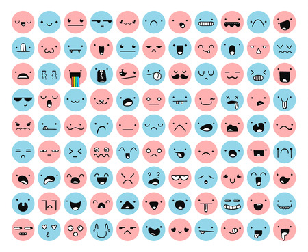 anger kid: Great set 99 pink, blue emotion isolated on white. Emoji set. Anger and compassion. Laughter and tears. Smile and sadness. Sadness and surprise. Happiness and fear. Emotions for Web development.