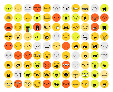 emotions: Great set 99 color emotion isolated on white. Emoji set. Anger and compassion. Laughter and tears. Smile and sadness. Sadness and surprise. Happiness and fear. Emotions for Web development.