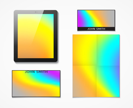 printing business: Set of corporate identity with a bright background hologram printing . Business set of printed materials. Tablet and business cards, flyers. Paper for documents. Background printing on office products
