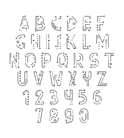 sketched shapes: Font in line flat style. Conceptual alphabet. Flat font. Geometric letters. Font of sign. Set of letters in techno style. Cryptography. Modern decorative font Illustration