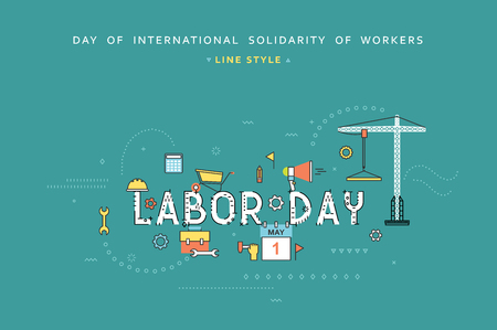 Labor day desing concept in line flat style. Celebration labour. Labour day greetings. Day of international solidarity of workers. 1st May. Concept for business in flat style