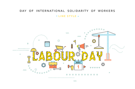 labor: Labour day desing concept in line flat style. Celebration labor. Labour day greetings. Day of international solidarity of workers. 1st May. Concept for business in flat style
