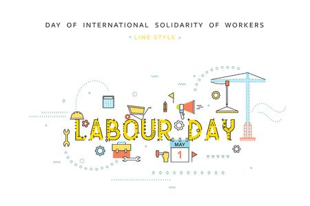Lavoro concept desing giornata con stile piatta linea. lavoro Celebration. saluti Festa del lavoro. Giornata di solidarietà internazionale dei lavoratori. 1 ° maggio. Concetto per affari con stile piatto Archivio Fotografico - 54197802