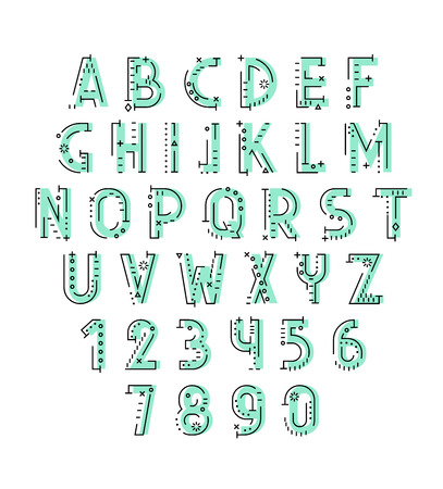 decorative line: Font in line flat style. Conceptual alphabet. Flat font. Geometric letters. Font of sign. Set of letters in techno style. Cryptography. Modern decorative font Illustration