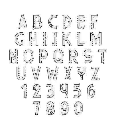 cryptography: Font in line flat style. Conceptual alphabet. Flat font. Geometric letters. Font of sign. Set of letters in techno style. Cryptography. Modern decorative font Illustration