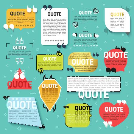 sjabloon: Set van 15 offerte voor de website in lineaire en vlakke stijl. Realistische 3D tekstblokken. Decoratieve quotes voor mobiele toepassingen. Reageren op een vlakke stijl. Bijschrift voor de technische ondersteuning, feedback, vragen.