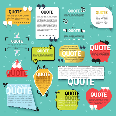 Set of 15 quote for the Web site in linear and flat style. Realistic 3D text blocks. Decorative quotes for mobile applications. Quote a flat style. Callout for technical support, feedback, questions.