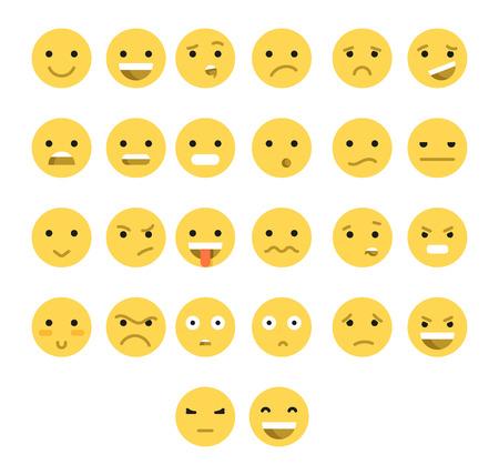 caras de emociones: Gran conjunto de 26 emociones amarillos aislados con sombra transparente. Emociones para web. emoji conjunto. La ira y la compasión. Risas y lágrimas. La sonrisa y la tristeza. La tristeza y la sorpresa. La felicidad y el miedo.
