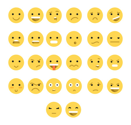 smiling faces: Great set of 26 yellow emotions insulated with transparent shadow. Emotions for Web. Emoji set. Anger and compassion. Laughter and tears. Smile and sadness. Sadness and surprise. Happiness and fear. Illustration