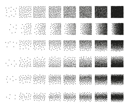 Set of 48 hearts Stipple pattern for design . Spot engraving to create brushes . Engraving for retro backgrounds . Engraving for shade . Very detailed set of tile engraving for design