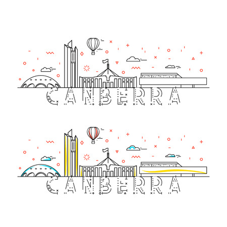 Weekend in Canberra. Capital city of Australia. Background with button for the site. Stylized city. Tourist advertising. Advertising template for travel agents. landing page for the tour operator.
