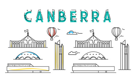 houses of parliament: Canberra. Capital city of Australia. Sights of the capital of Australia. Stylized city. Tourist advertising. Advertising template for travel agents.  landing page for the tour operator. Illustration