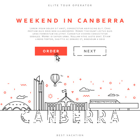 tour operator: Weekend in Canberra. Capital city of Australia. Sights of the capital of Australia. Stylized city. Tourist advertising. Advertising template for travel agents.  landing page for the tour operator.