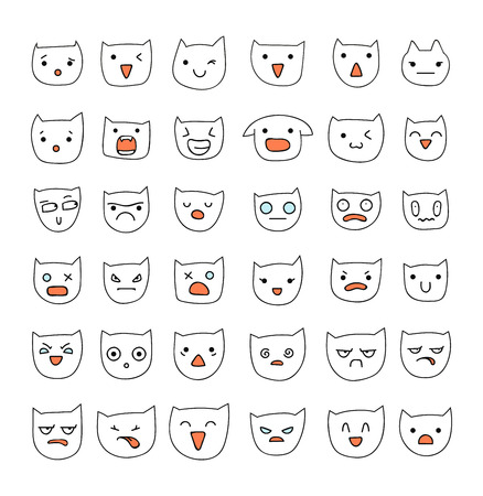 cunning: Emotions large set  36 pieces. Cat Smile. Emoji set cat. Anger and compassion. Laughter and tears. Smile and sadness. Sadness and surprise. Happiness and fear. Cats.  Cunning. Cheerful. Smile isolated