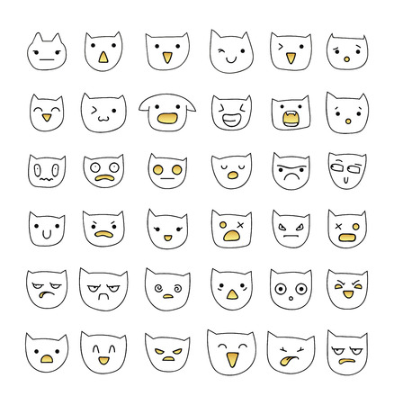 compassion: Emotions large set  36 pieces. Cat Smile. Emoji cat. Anger and compassion. Laughter and tears. Smile and sadness. Sadness and surprise. Happiness and fear. Cat. Smile. Anger. Cheerful. Smile isolated