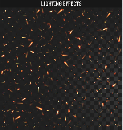 lighting effects: Sparks isolated realistic lighting with transparency for design.Sparks realistic effect.  Sparks from the fire.  Magic and bright lighting effects. Natural effects Fire spark effect. Illustration