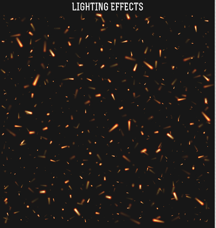 effects of lighting: Sparks isolated realistic lighting with transparency for design.Sparks realistic effect.  Sparks from the fire.  Magic and bright lighting effects. Natural effects Fire spark effect. Illustration
