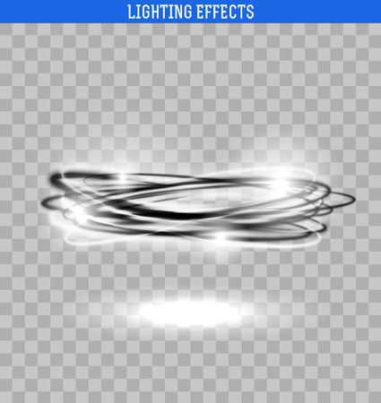light trail: Light circle isolated . Black and white glowing ring. Swirl trail effect with transparensy. Illustration