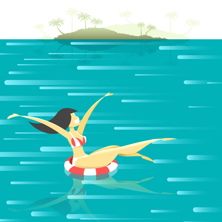 repose: The girl on the high seas . Girl on vacation. Summer vacation concept. Retro poster with a girl floating in the sea. Flat girl at sea. Summer Resort. Illustration