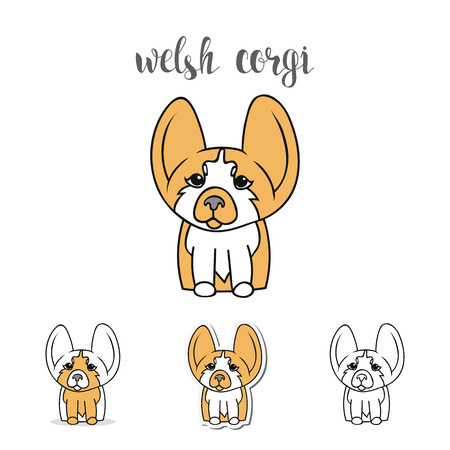 welsh: Dogs characters. Doodle dog. Sticker dog Welsh Corgi. Funny character. Funny dogs. Funny animals. Dog isolated. Print dogs