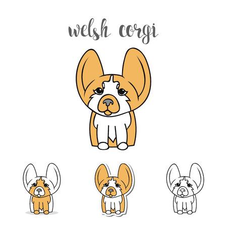 corgi: Dogs characters. Doodle dog. Sticker dog Welsh Corgi. Funny character. Funny dogs. Funny animals. Dog isolated. Print dogs