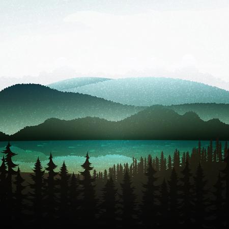 paisaje de verano de la naturaleza. La naturaleza y el paisaje. Paisaje de montaña con bosque y el lago. Publicidad fondo de viajes y camping. Los bosques de montaña y ríos. Parque Nacional. juego de fondo. Ilustración de vector