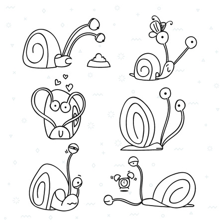 spite: Set of 6 snails doodle handmade. Snail with emotions. Sketch snail. Design elements with animals. Snail for design. Shellfish doodle. Doodle sketch. Doddle character. Cute snail . Summer doodle Illustration