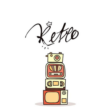 tape recorder: Vintage retro poster handmade doodle style. The inscription calligraphy retro . The camera and tape recorder . Video cassette and television . Vintage retro background