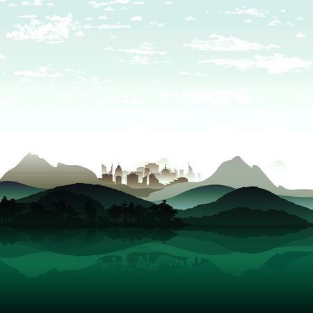 mega city: Nature lake on background of city and the mountain massif. Illustration