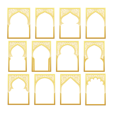 Gold Design Arab windows for Ramadan Kareem Template Иллюстрация