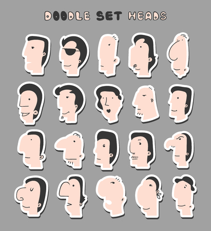 emote: Isolated mens heads with different facial expressions. Men face. Boy face.