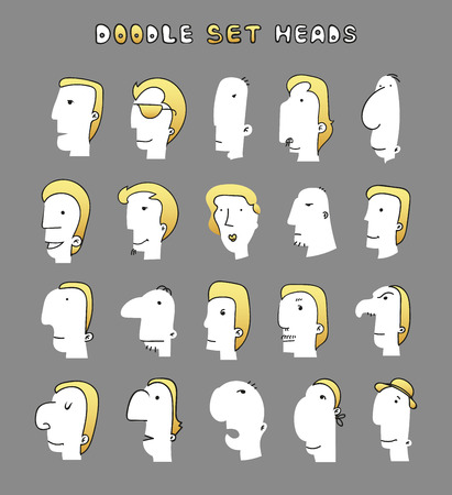 Isolated mens heads with different facial expressions. Men face. Boy face.