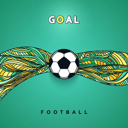 Bandera del balón de fútbol con el fondo. concepto de pelota de fútbol Ilustración de vector