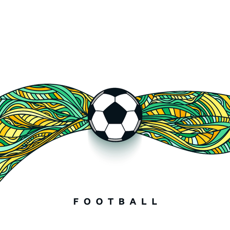 Bandera del balón de fútbol con el fondo. concepto de pelota de fútbol