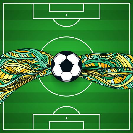 El fondo de un campo de fútbol con la bola en el centro