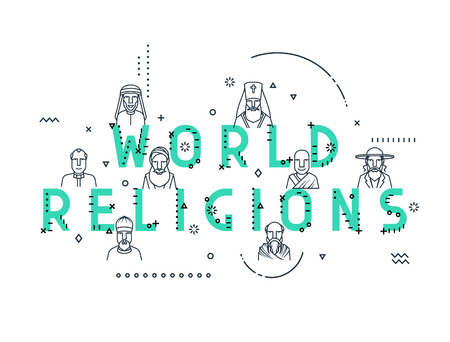 dignity: Modern vector illustration concepts religious people confession man. Flat design banners for website and mobile website. Characters men religious.