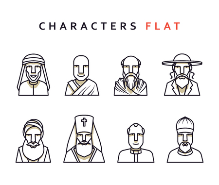 dignity: Set of religious figures of different religions in the world . Isolated characters in flat style. Characters icons men religious. Illustration