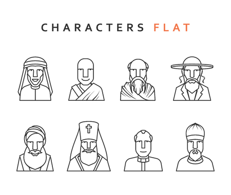 religion catolica: Conjunto de figuras religiosas de diferentes religiones en el mundo. personajes aislados en estilo plano. Caracteres de los iconos de los hombres religiosos. Vectores