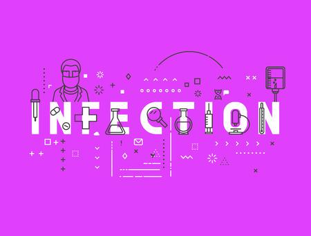 infective: Medicine concept infection. Creative design elements for websites, mobile apps and printed materials. Medicine banner design