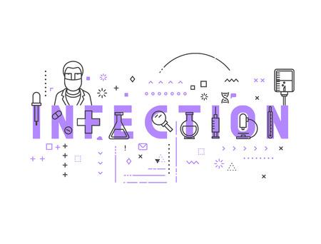 quarantine: Medicine concept infection. Creative design elements for websites, mobile apps and printed materials. Medicine banner design