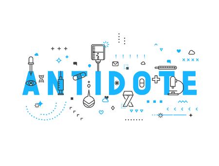 flu immunization: Medicine concept antidote. Creative design elements for websites, mobile apps and printed materials. Medicine banner design Illustration