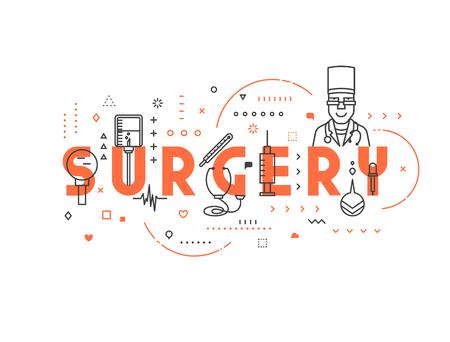 surgical glove: Medicine concept surgery. Creative design elements for websites, mobile apps and printed materials. Medicine banner design