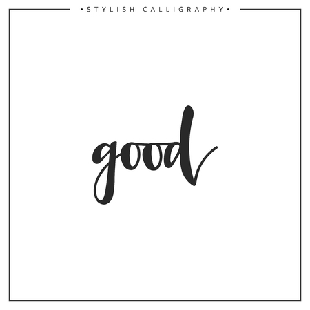 an elite: Good phrase in handmade. Good. Stylish, modern calligraphy. Elite calligraphy. Quote with swirls. Search for the design of brochures, posters, banners, web design.