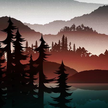 La naturaleza de fondo realista verde del bosque y las montañas.