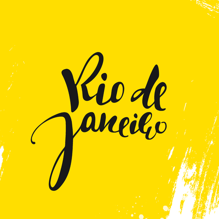 janeiro: Rio de Janeiro inscription on a yellow background. Calligraphy handmade greeting cards, posters phrase Rio de Janeiro. Background watercolor brush yellow , Brazil carnival