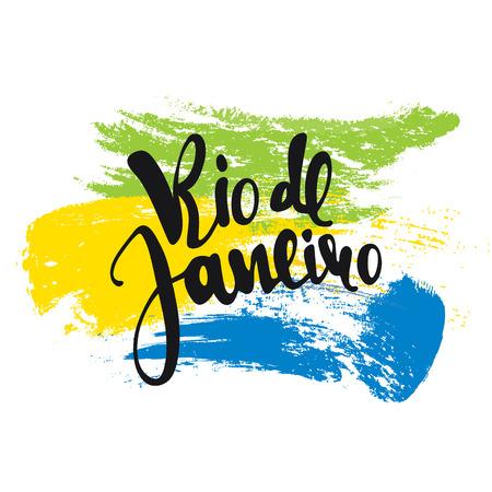 Rio de Janeiro inscription, background colors of the Brazilian flag. Calligraphy handmade greeting cards , posters phrase Rio de Janeiro. Background watercolor brush , Brazil carnival Illustration
