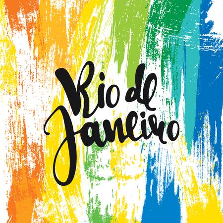 Rio de Janeiro inscription, couleurs de fond du drapeau brésilien. Calligraphie cartes de v?ux, faits à la main posters phrase Rio de Janeiro. Contexte aquarelle brosse, Brésil carnaval