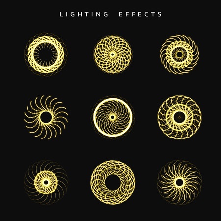 zapping: Set of lighting isolated effect. Round lighting effects. Magic, bright, brilliant patches of light. Effect for background and design. Light patches of light. Set of effects. Realistic effect.